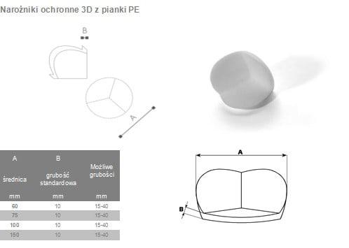 narożniki 3D z pianki PE